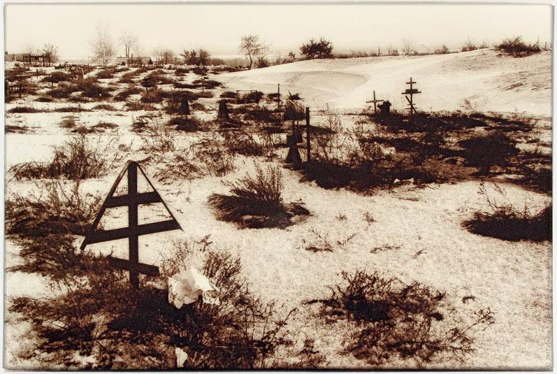 "photo ""Forgotten Cemetery"" tags: landscape, black&white, winter"