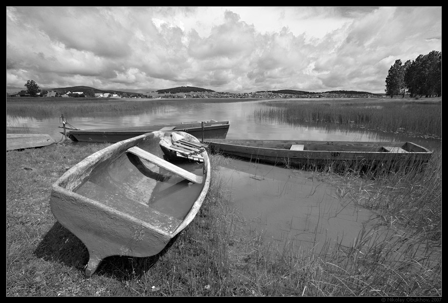 "photo ""Etude with boats / 0172_0009bw"" tags: black&white, landscape, summer"