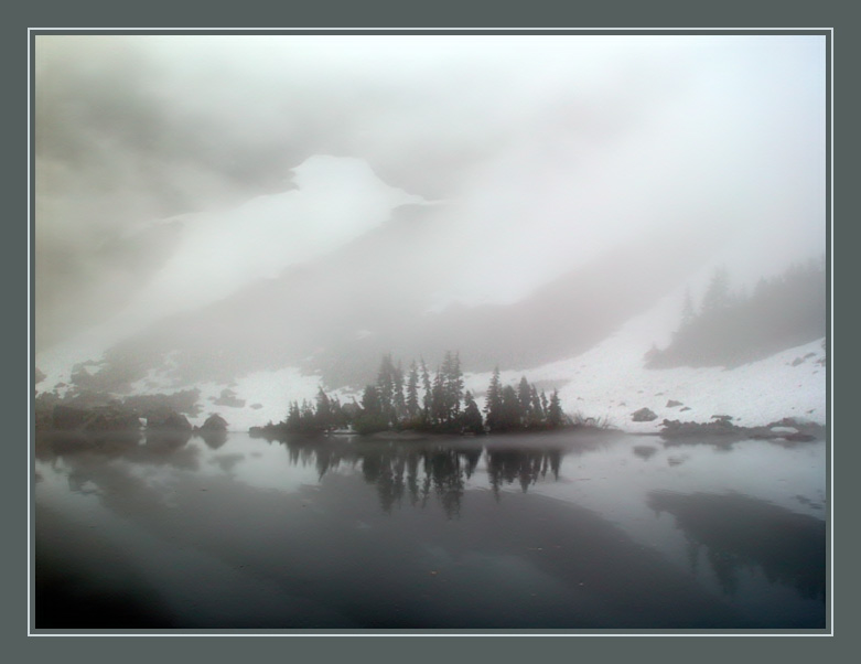 "photo ""The Fog is Disappearing..."" tags: landscape, mountains, water"