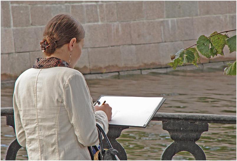 """photo """"At etudes"""" tags: city, portrait, woman"""