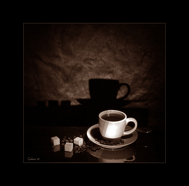 "photo ""Coffee Time"" tags: still life, black&white,"