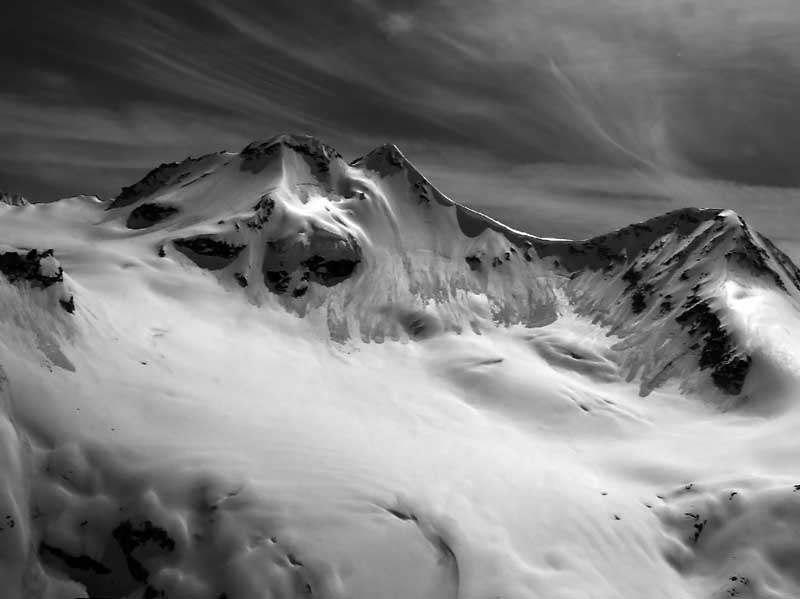 "photo ""Unnamed Peaks, Unnamed Glaciers"" tags: landscape, black&white, mountains"