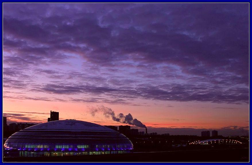 "photo ""winter evening ..."" tags: landscape, sunset, winter"