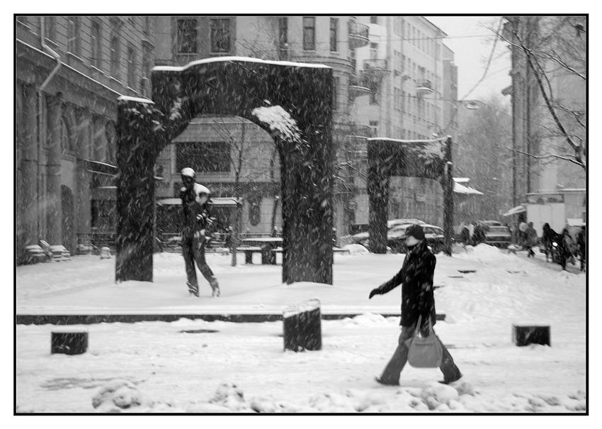 """фото """"Снежномосковский Арбат..."""" метки: черно-белые, город,"""