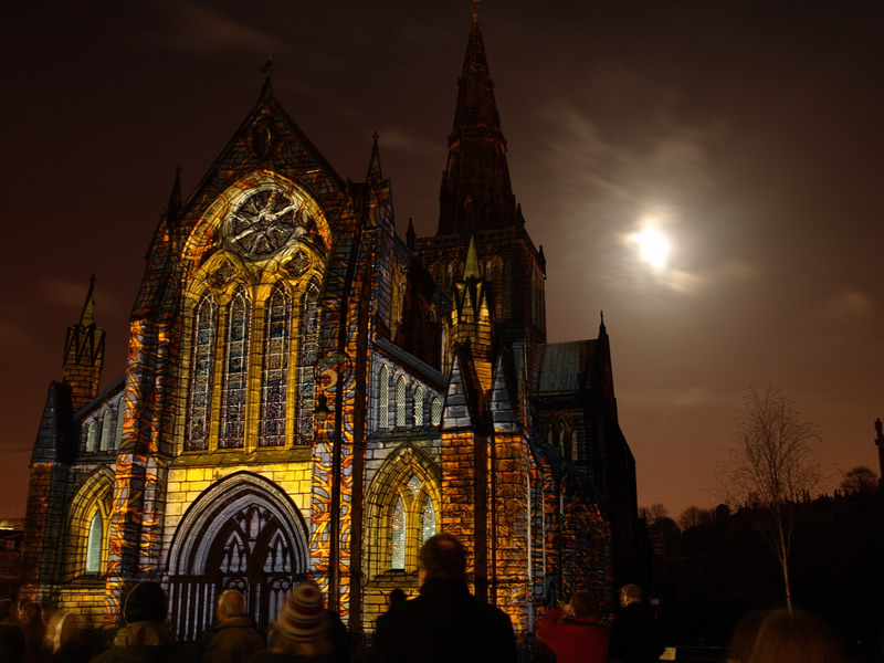"photo ""Glasgow Cathedral, Scotland."" tags: landscape, architecture, night"