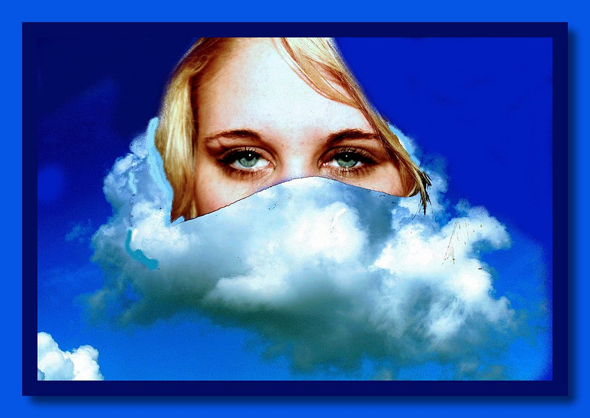 "photo ""Esther in clouds"" tags: montage,"