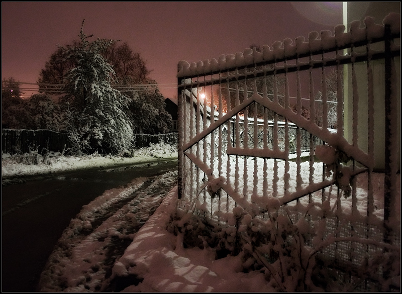 "photo ""Winter landscape with a fence"" tags: landscape, winter"