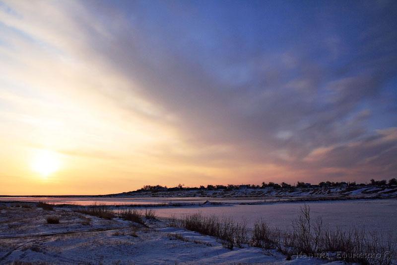"фото ""вечер на реке"" метки: пейзаж, зима"