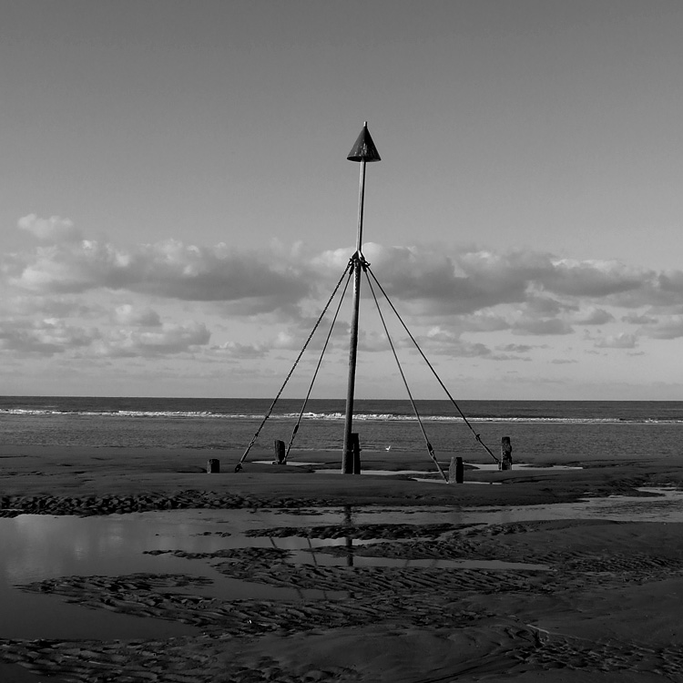 "photo ""Prestatyn, Wales"" tags: landscape, black&white,"