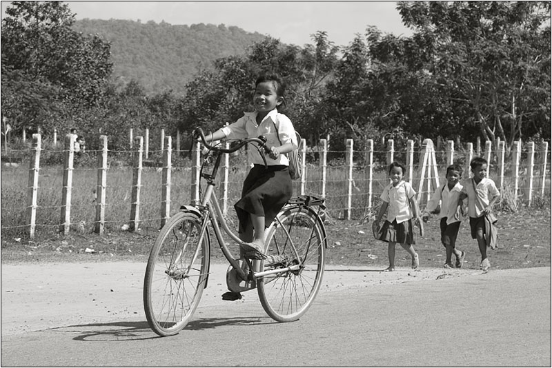 "photo ""Cambodian kids."" tags: black&white, portrait, children"