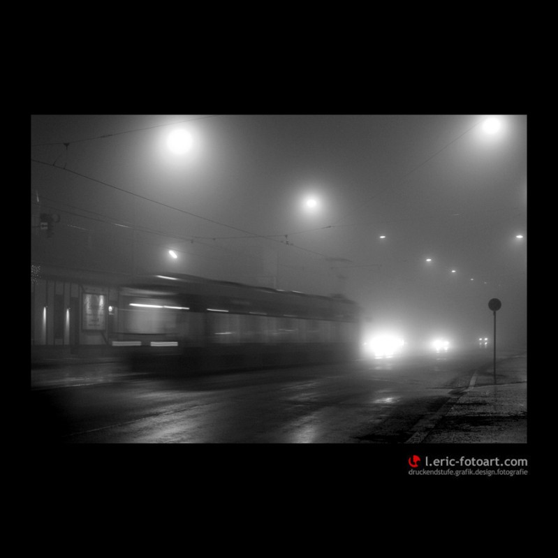 "фото ""vienna at night - and fog"" метки: пейзаж, черно-белые, ночь"