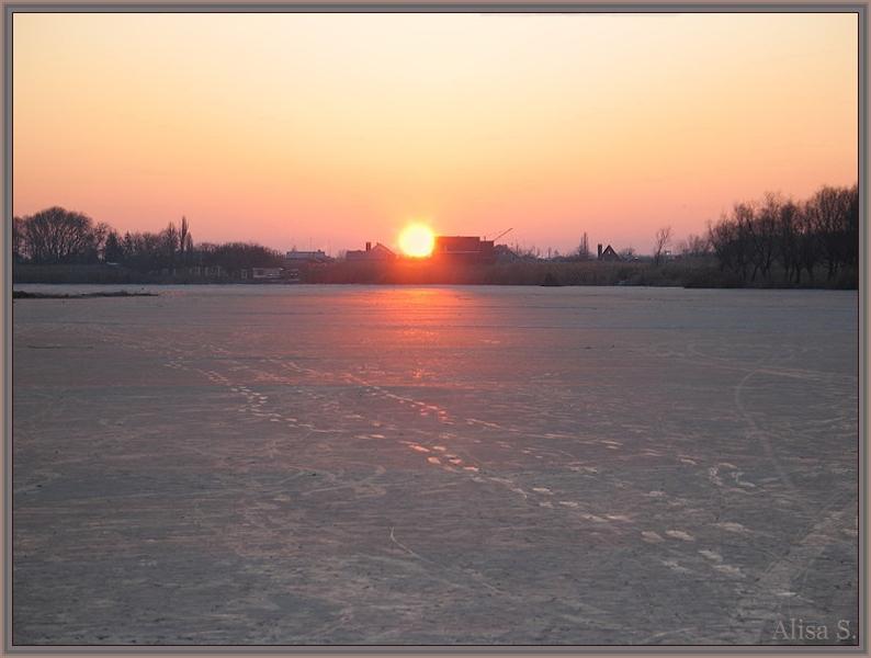"""фото """"-18оС, восход, середина реки, 11.01.08."""" метки: ,"""