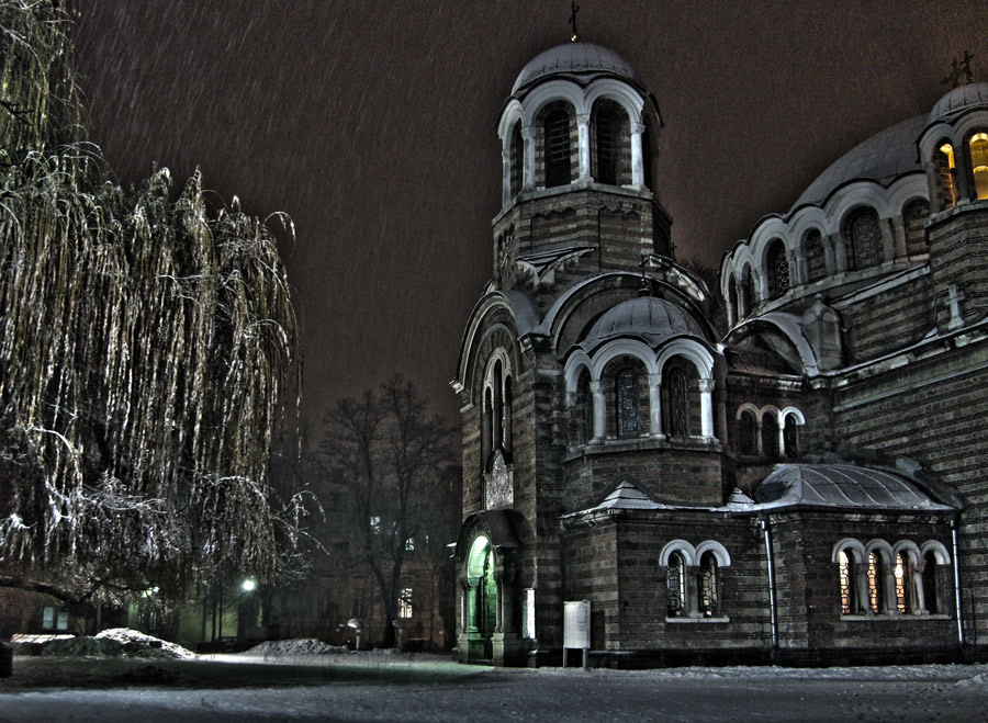 "photo ""Winter nights"" tags: architecture, landscape,"