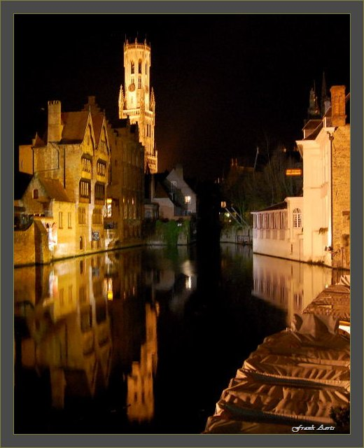 """photo """"Brugges by night"""" tags: architecture, landscape, night"""