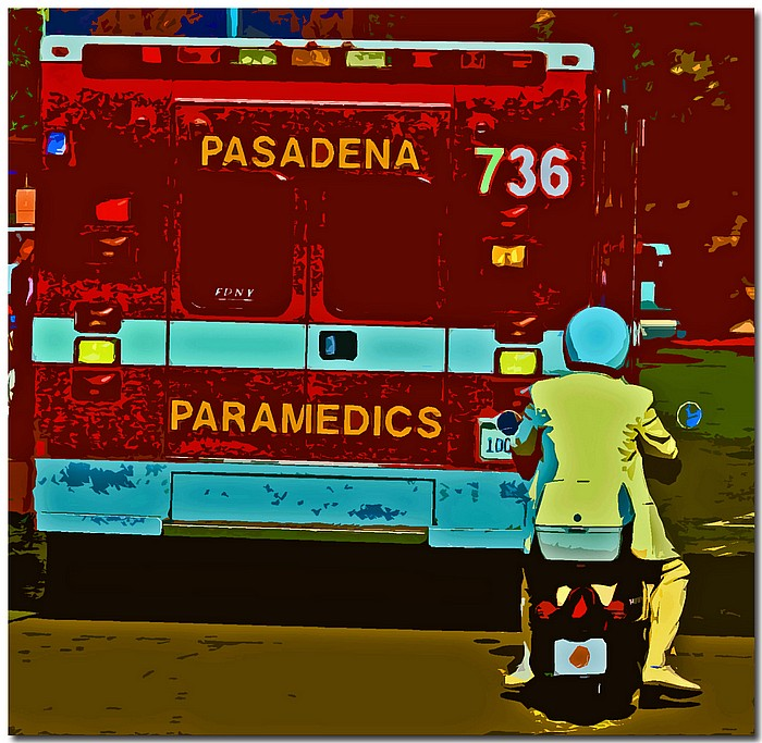 "photo ""Ambulance Chaser"" tags: montage, reporting,"