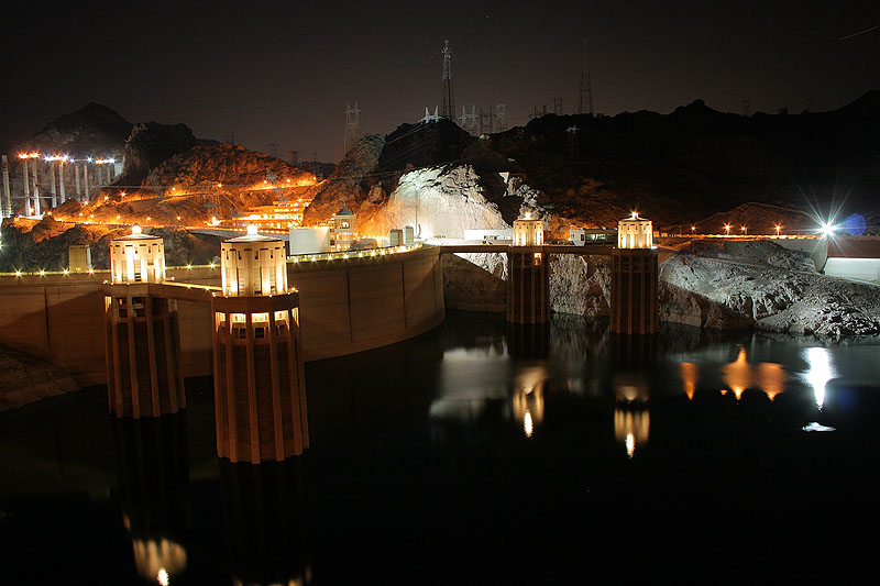 "photo ""Hoover Dam"" tags: architecture, landscape, night"