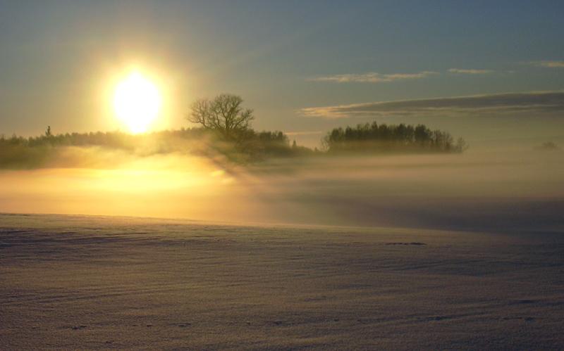"photo ""... sunset fog"" tags: landscape, sunset"