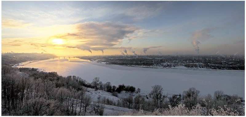"photo ""Pano. Oka river. -20."" tags: landscape, sunset, winter"
