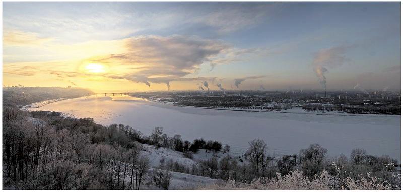 """фото """"Панорама. Ока. Минус 20."""" метки: пейзаж, закат, зима"""