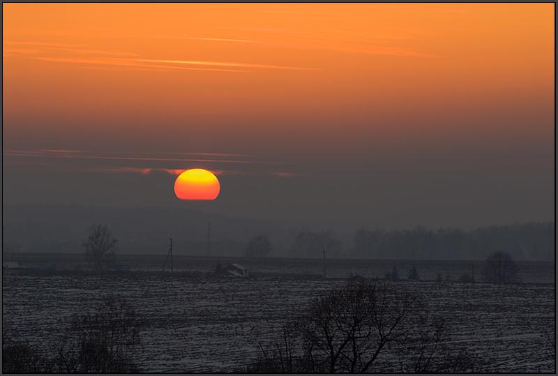 """фото """"Закат в деревне."""" метки: пейзаж, закат"""