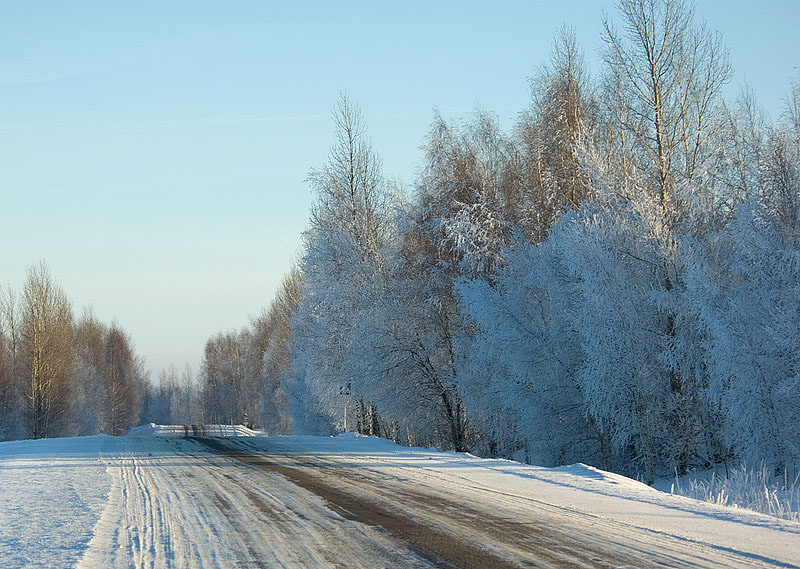 "фото ""Зимнее шоссе.."" метки: пейзаж, зима"