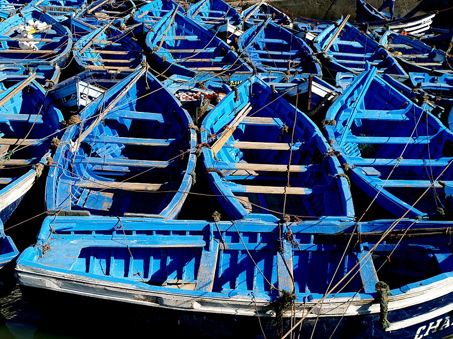 "photo ""Blue Boats in Essaouira sea..."" tags: travel, Africa"