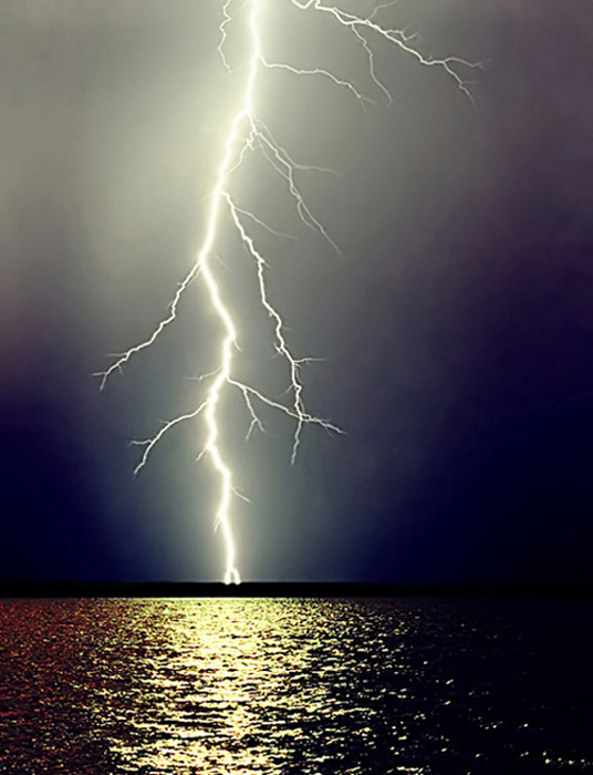 "photo ""Night, lake, thunder-storm."" tags: landscape, misc., water"
