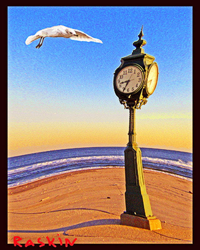 "photo ""Seagull and clock"" tags: montage, travel, North America"