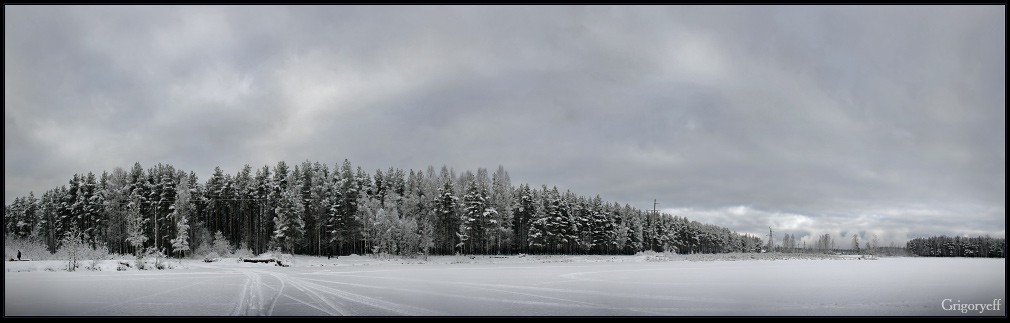 "photo ""Across the lake"" tags: landscape, forest, winter"