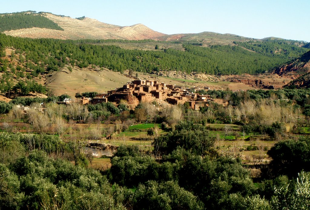"photo ""Berber village in the high Atlas in Morocco:"" tags: landscape, travel, Africa, mountains"
