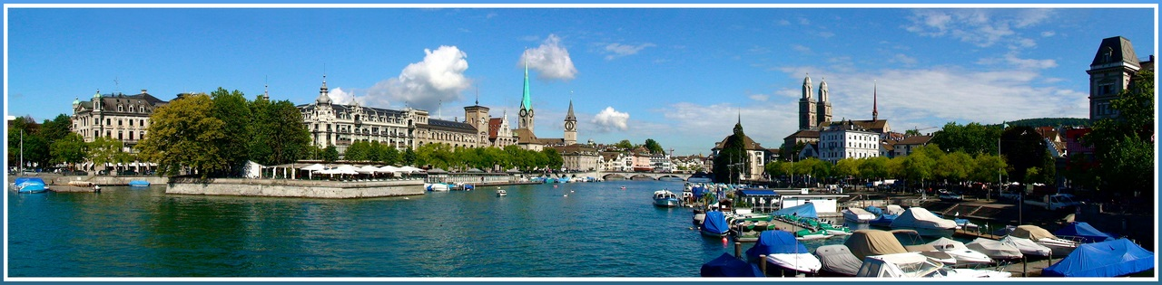 "photo ""Churches of Zurich"" tags: panoramic, travel, Europe"