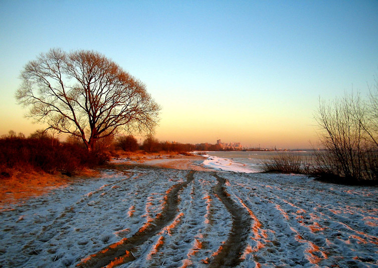 "photo ""Show Me  the Way Back"" tags: landscape, sunset, winter"