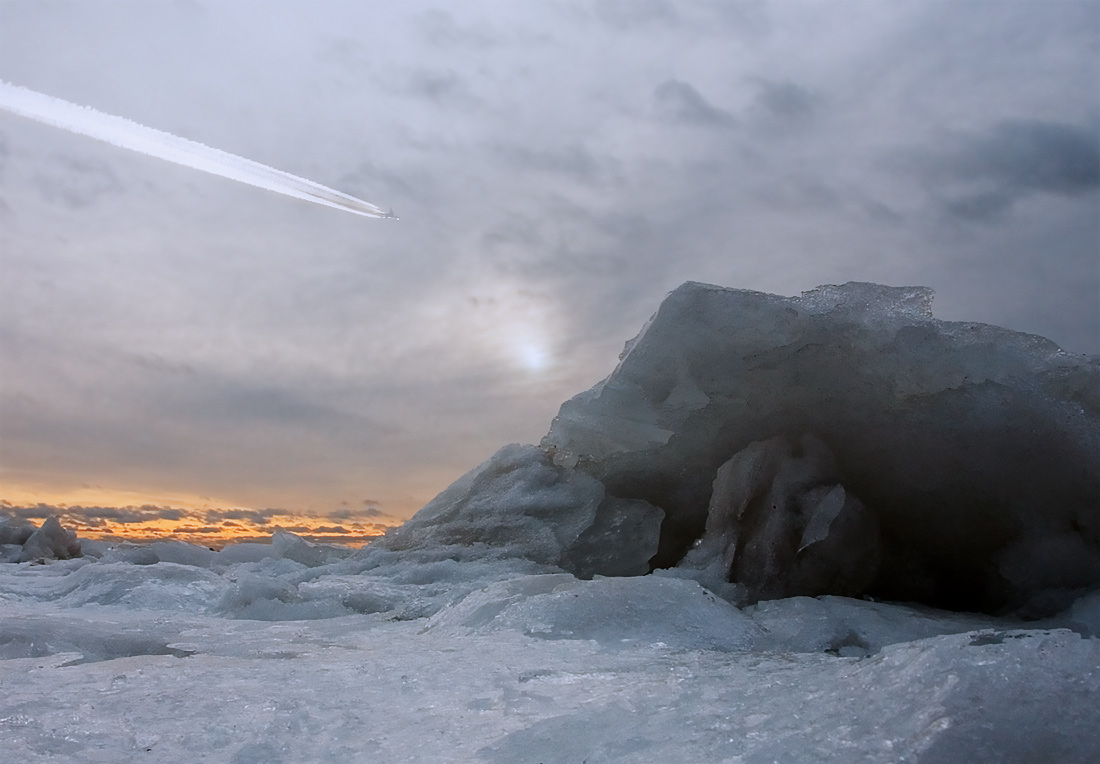 "photo ""Armageddon"" tags: landscape, sunset, winter"