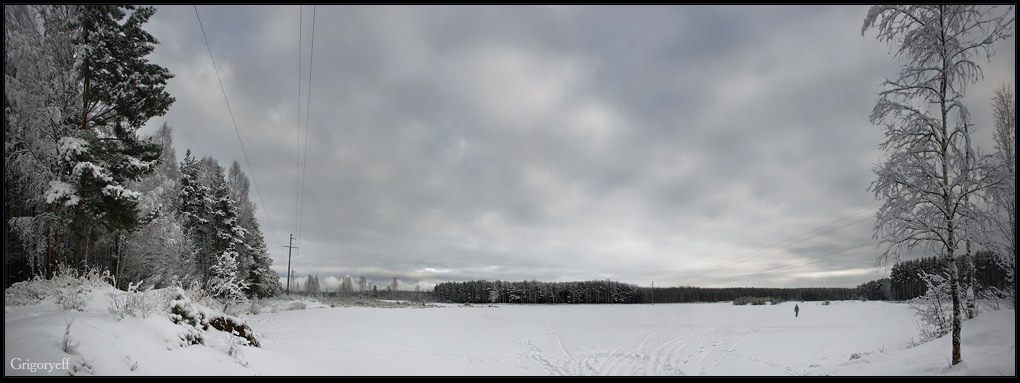 "photo ""Across the lake"" tags: landscape, clouds, winter"