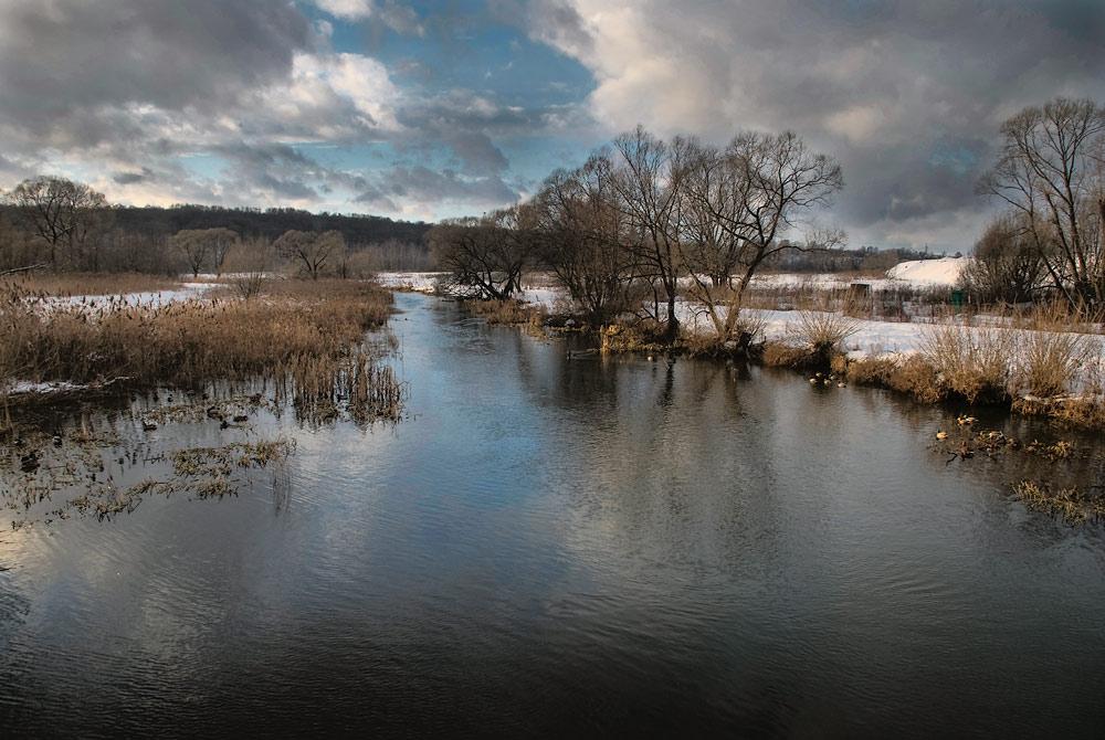 """фото """"Зимняя речка"""" метки: пейзаж, вода, зима"""