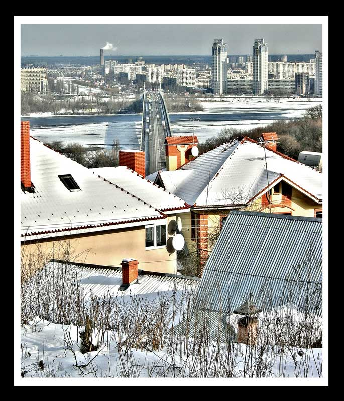 "фото ""Вид на мост Патона зимой 2007 года"" метки: архитектура, город, пейзаж,"