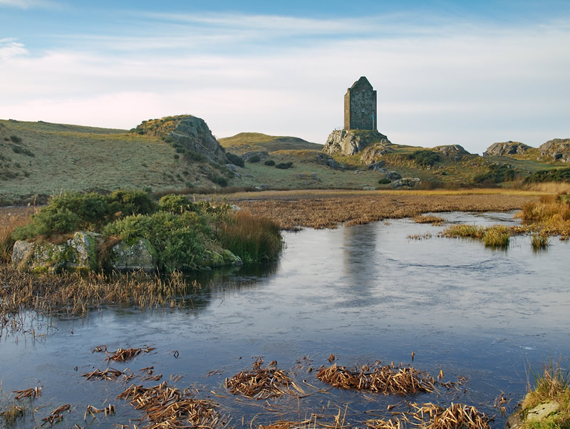 "photo ""Smailholm Tower, Scotland"" tags: landscape, water, winter"