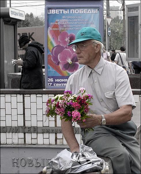 """photo """"- Buy, please, flowers!.."""" tags: portrait, genre, man"""