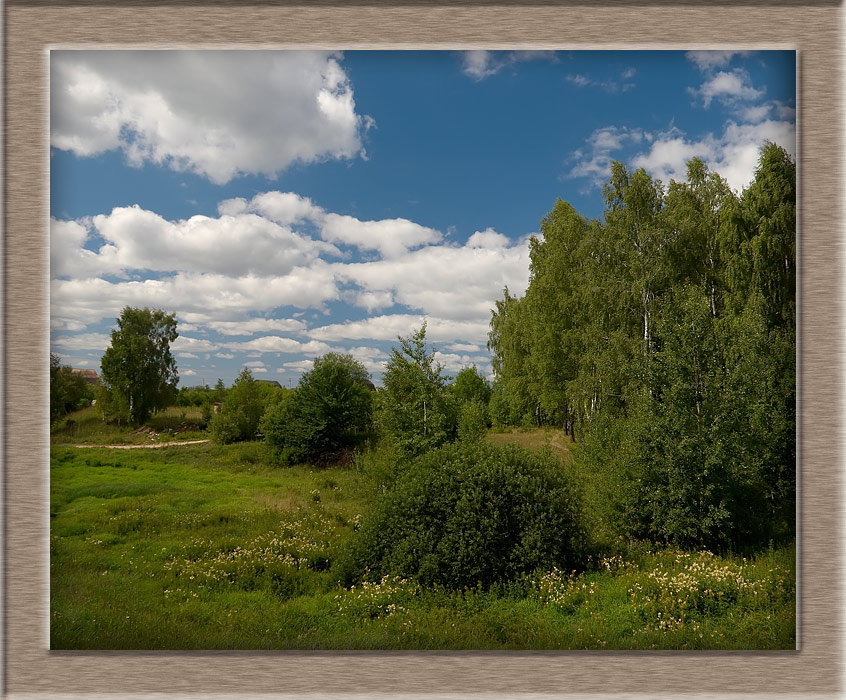 "photo ""Summer view in a wood frame."" tags: landscape, summer"