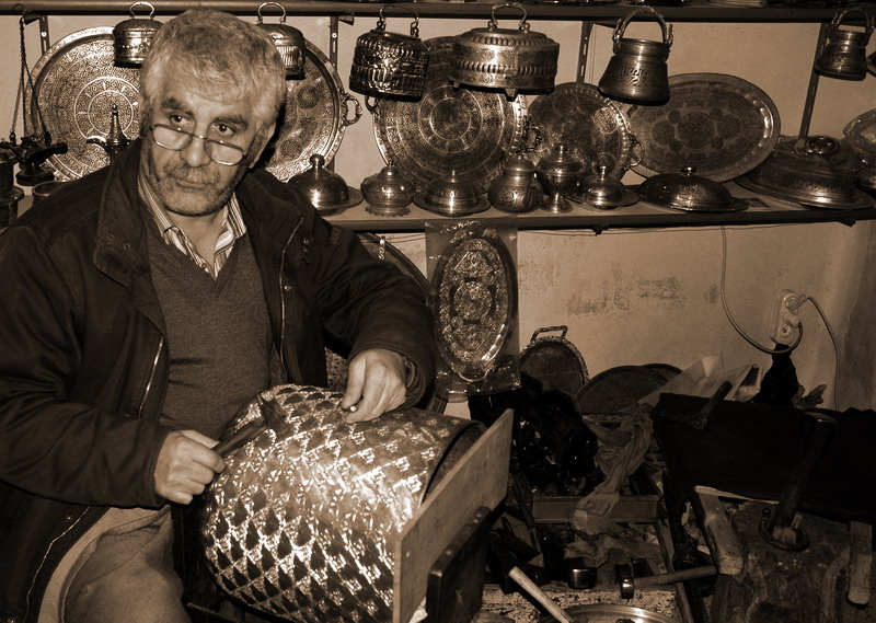 "photo ""One of the last copper worker"" tags: portrait, black&white,"