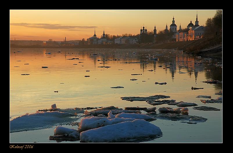 "photo ""Ice drift"" tags: landscape, sunset, water"