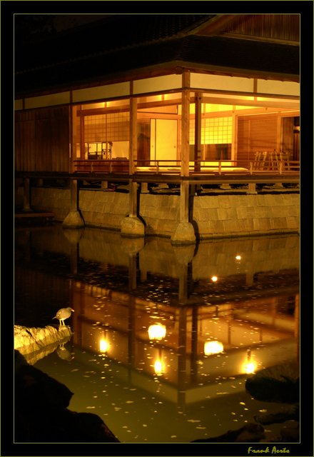 """photo """"Japanese garden by night 2"""" tags: architecture, landscape,"""