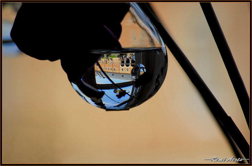 """photo """"in the glass"""" tags: macro and close-up, landscape,"""
