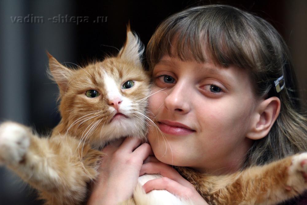 """фото """"девочка и кот"""" метки: портрет,"""