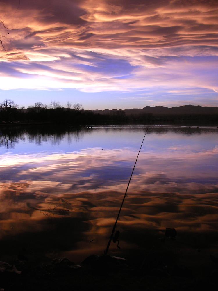 """photo """"Sunset fishing"""" tags: landscape, sunset, water"""