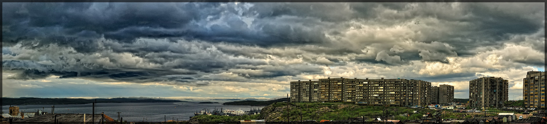 "photo ""...This darkness which came from the west covered the city..."" tags: landscape, panoramic, clouds"
