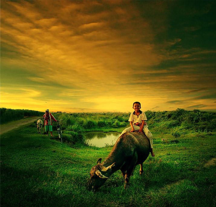 """photo """"Shepherd boy"""" tags: portrait, landscape, children"""