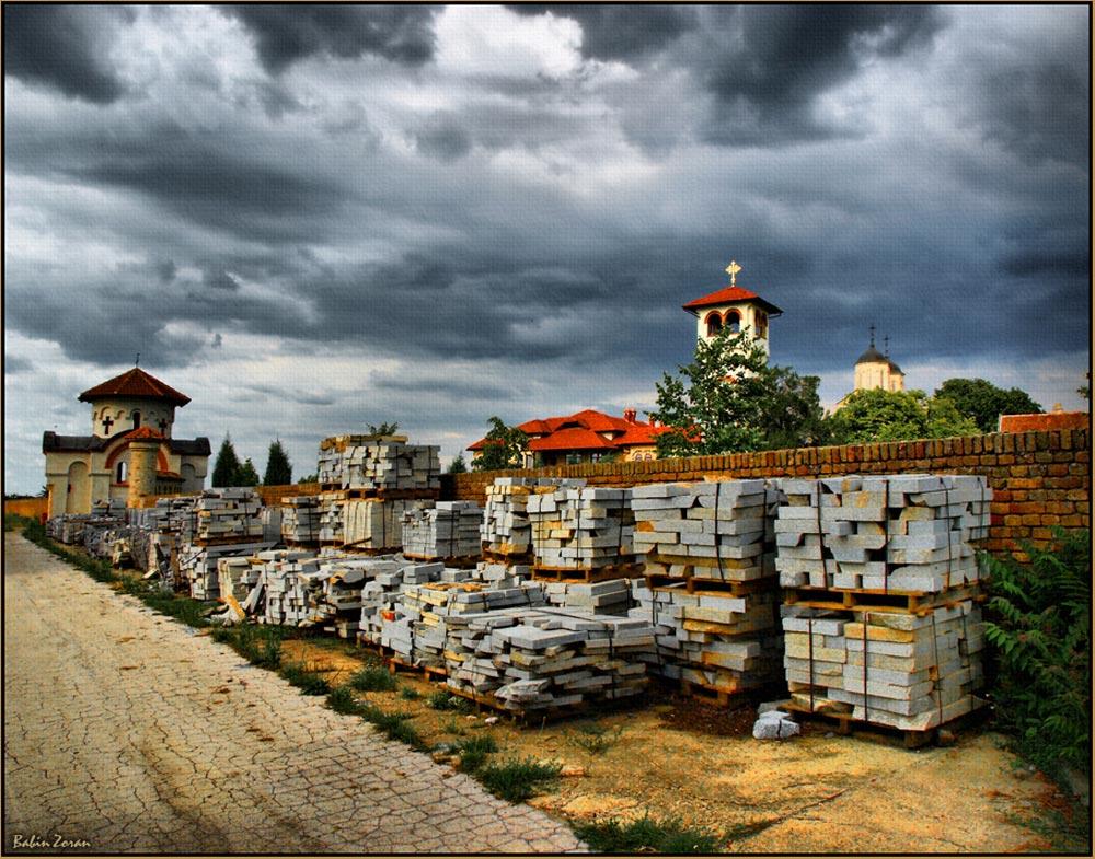 "photo ""adaptation and ... (monastery, Kovilj Serbia)"" tags: architecture, landscape,"