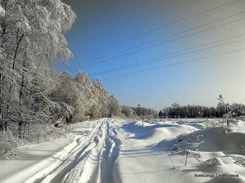 "photo ""природа,зима,дорога,мороз,деревья,поле,лес"" tags: landscape, winter"