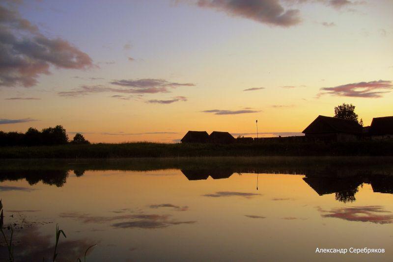 "photo ""деревня,природа,пейзаж,Родина,Россия,отражения,закат,вода"" tags: landscape,"